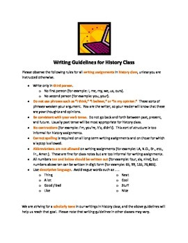 Writing Guidelines for History Class & Writing Process