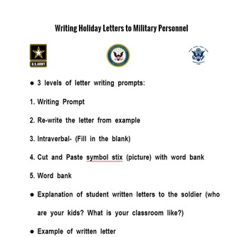 Writing Holiday Letters to Soldiers{autism, special ed, fu