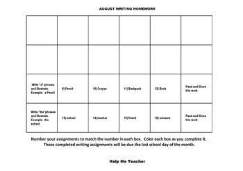Kindergarten Writing Homework Calendar - August - Help Me Teacher