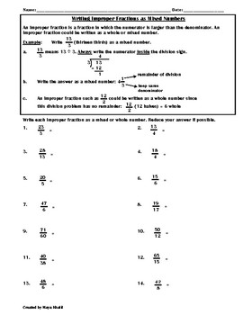 Writing Improper Fractions as Mixed Numbers Worksheet