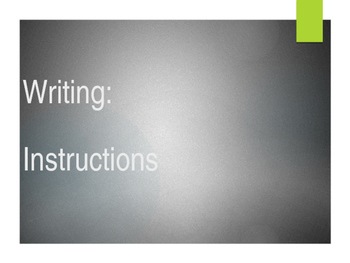 Writing: Instructions