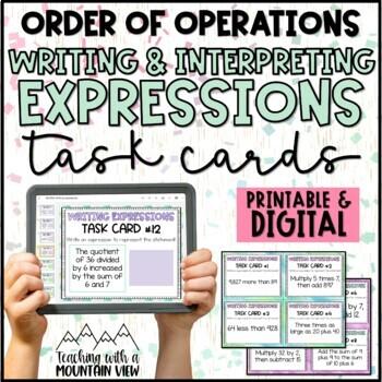 Writing & Interpreting Expressions Task Cards (NO Variable