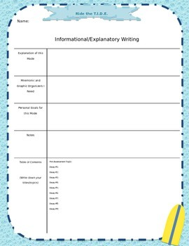Writing Journal Cover Page:  Informational/Explanatory Wri
