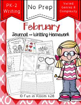 Writing Journal / Homework ~ February {No Prep}
