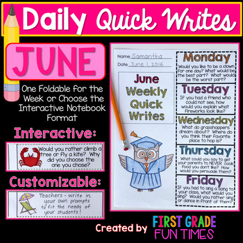 End of Year Activities Quick Writes