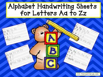 Alphabet HandWriting sheets for Letters from Aa to Zz!