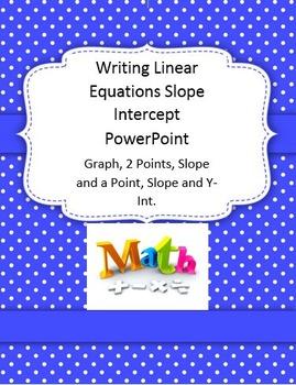 Writing Linear Equations Algebra 2 Slope Intercept Powerpoint