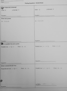 Writing Linear Equations - Guided Notes