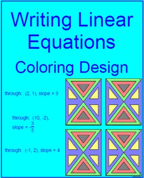 Writing Linear Equations using one Point and Slope - Color