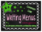 {FREE} K-6 Common Core Writing Menu Set - Six Traits and F