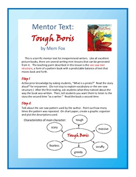 "Writing Mini-lesson with Mentor Text ""Tough Boris"" For Gra"