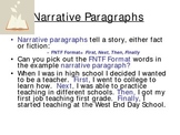 Writing Narrative Paragraphs Using Transition Words