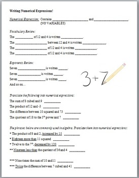 Writing Numerical Expressions (Guided Notes and Assessment)