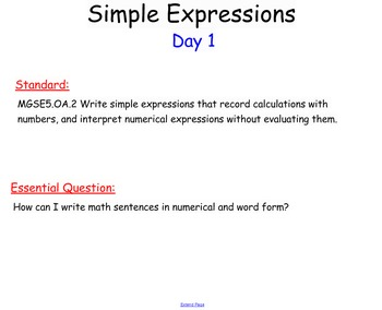 Writing Numerical Expressions SMARTboard Openings