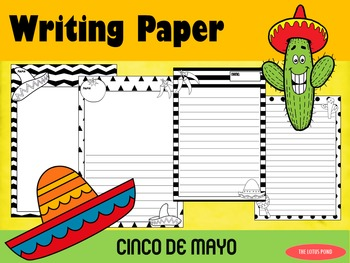 Writing Paper : Cinco de Mayo : Standard Lines : BW