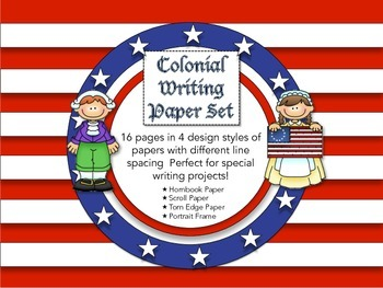 Colonial Writing Paper Set with Various Designs and Line Spacings