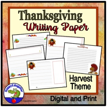 Thanksgiving Writing Paper - Lined Paper - Thanksgiving Ha