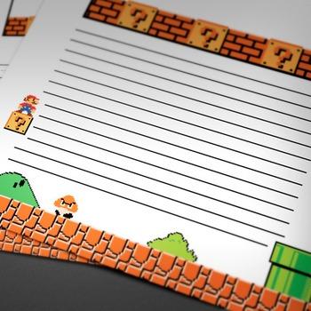 WRITING PAPER: Game Theme (10 Styles) Bonus: PowerPoint Template