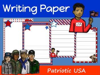 Writing Paper : Patriotic USA : Primary Lines