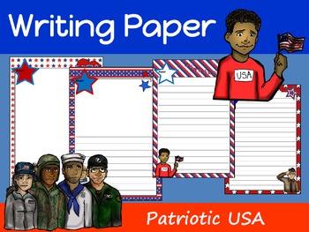 Writing Paper : Patriotic USA : Standard Lines
