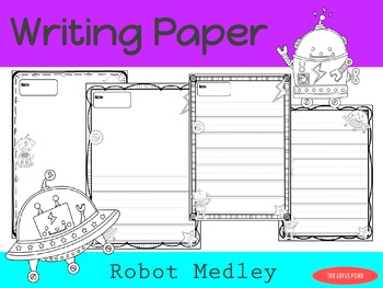 Writing Paper : Robot Medley : Primary Lines