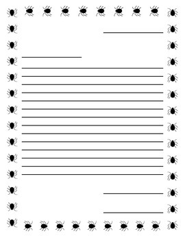 Writing Paper, Spider Border with Narrow Lines in Friendly