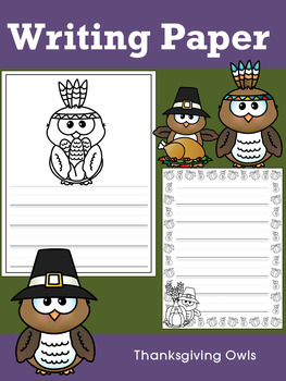 Writing Paper : Thanksgiving Owls - Primary Lines & Black