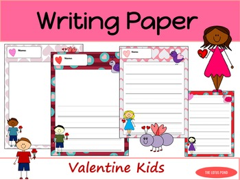 Writing Paper : Valentines Kids