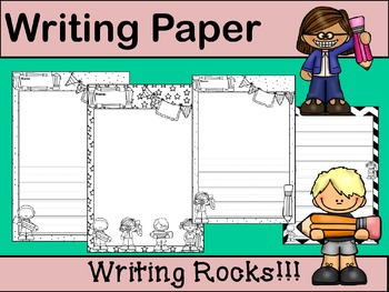 Writing Paper : Writing Rocks! : Primary Lines : BW