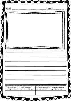 Writing Paper - Kindergarten - 2nd Grade with Checklist