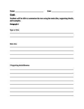 Writing Paragraphs Graphic Organizer