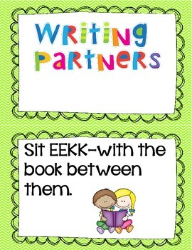 Writing Partner Anchor Chart Cards