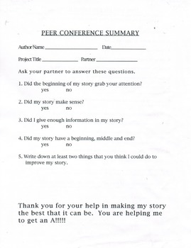 Writing Peer Conference Summary