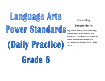 Language Arts Power Standards (CCStandards)- Daily Warm-up