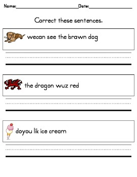 Writing Practice -- Correct These Sentences for Kindergarten!