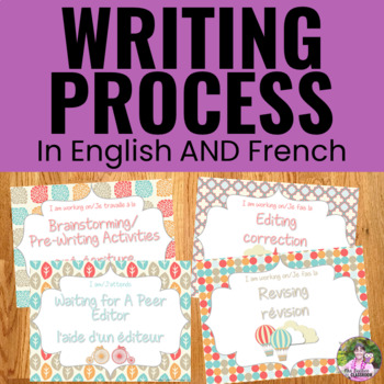 Writing Process Clip Chart ~DUAL LANGUAGE~ Parisian Theme