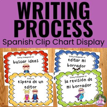 Writing Process Clip Chart ~SPANISH~ Superhero Theme