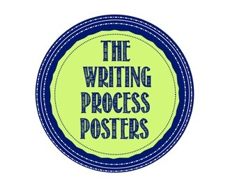 Writing Process Posters Navy Blue and Mint Green