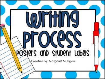 Writing Process Posters and Student Labels - Bright Blue P