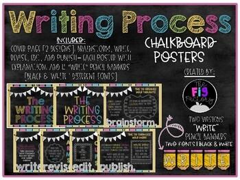Writing Process Posters-chalkboard