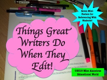 """Writing Process: Seven Mini-Posters for """"What Great Writer"""