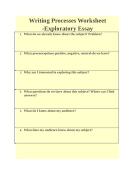 Writing Process Worksheet