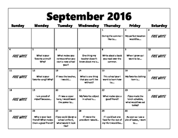 Writing Prompt Calendar-September 2016