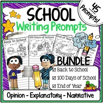 Writing Prompts for Back to School, 100th Day of School &