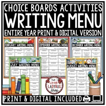 Writing Choice Boards - Writing Prompts 2nd Grade, 3rd Gra