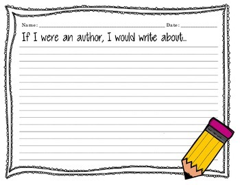 """Writing Prompts """"All About Writing and Books"""" Yellow Penci"""
