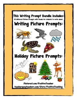 Writing Prompts Bundle - 52 Different Writing Picture Prom