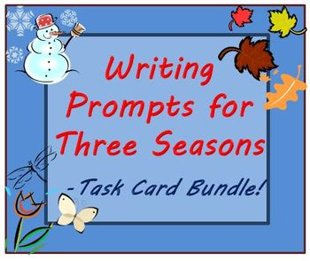 Writing Prompts Bundle Task Cards for Fall Winter & Spring