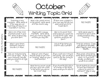 Writing Prompts Grid Sheet--OCTOBER