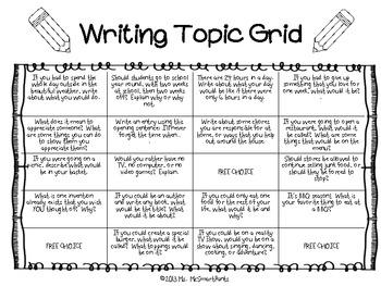Writing Prompts Grid Sheet--SAMPLE